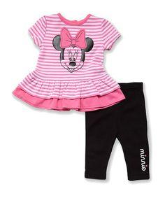 Love this Pink Stripe Minnie Ruffle Tunic & Black Leggings - Infant on #zulily! #zulilyfinds