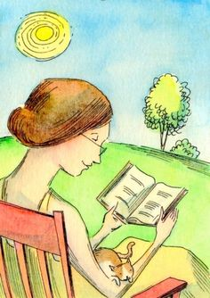 Reading in the sun, painting by artist Nicole Wong