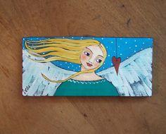 Angel Painting Original Folk Art Painting Valentine by Debidoodah
