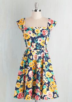 Because I'm Blossom Dress. Shout it from the rooftops - youre chic and confident in this navy-blue frock. #multi #modcloth