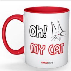 €12,95 Taza Oh! My Cat para tus desayunos y meriendas. Asa e interior rojo, date un toque de color!     #taza #mug #cats #gatos #catlovers #cute #coffee #love #red