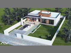 House Outer Design, Minimal House Design, Sims House Design, Unique House Design, Bungalow House Design, House Front Design, Modern House Facades, Modern Exterior House Designs, Architectural Design House Plans