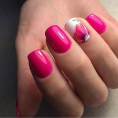 Bright raspberry nails, Manicure by summer dress, Nails ideas 2017, Nails ideas with flowers, Pink manicure ideas, ring finger nails, Romantic nails, Spectacular nails