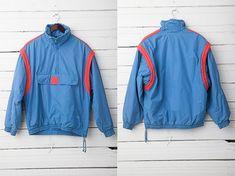 1970's Vintage Blue and Red Windbreaker Pullover Ski Jacket / Size M / Unisex Jacket