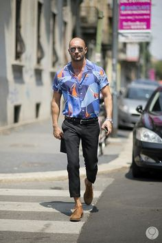 taking cues from Milan Vukmirovic, cuffed short-sleeved print shirt for the summer // menswear summer style + fashion