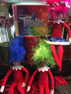 Elf on the Shelf ideas Trolls!! Our elves Elfonso, Lashes & Jingle were having a Trolls disco party up in here!!! Blasting #cantstopthefeeling with disco balls and all. They brought the boys a #Trolls gingerbread house and some trolls wigs. I think Guy Diamond was gassy cause there was glitter everywhere!!! December 21, 2016 . #elfontheshelf #dreamworkstrolls #trolls #elf #christmastime #gingerbreadhouse #disco #justintimberlake