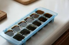 Addicted to iced coffee? No need to water down your caffeine fix. Fill an ice tray with coffee, and then use the frozen cubes to cool down your java later on. -