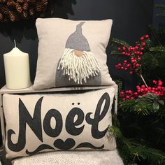 Handmade charcoal Noel cushion