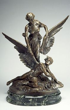 Edouard DrouotFrench, 1859–1945Woman Giving Wings to a Captive, ca. 1900Cast bronze  Indiana University Art Museum