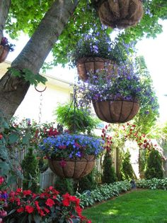 Hang baskets of flowers from trees for added color in the garden. Make sure the flowers can survive in shade or part-shade.