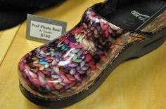 Knitting inspired shoe by Dansko. Shoes and Knitting combined! I'm in heaven, going to see if they still have these clogs.