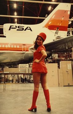 The ladies of Pacific Southwest Airlines (PSA). 1970's. this looks like it was taken in the hangar at SANMO.