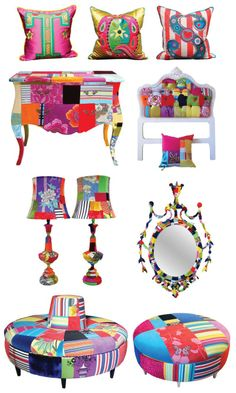 SquintLtd. Lisa Whatmough is the designer and creator behind Squint Limited, a company that produces these colorful, handcrafted furniture and home accessories. The hand stitched patchwork process used makes each amazing piece unique.  So do take a peek at their shop to see more exquisite designs.  http://sunsetgurldesign.typepad.com/weblog/chatels/page/4/#