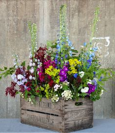 crate and cut flowers