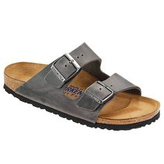 Arizona Soft Footbed in Iron Oiled Leather by Birkenstock