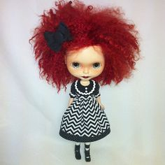 Dress for Blythe  Black and White Chevron by kookanoid on Etsy, $32.00