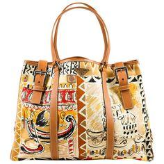 "Prada Tan Yellow Red Canvas Saffiano Leather Graphic Print ""Venice"" Tote Bag"