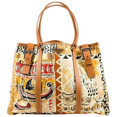 Prada Tan Yellow Red Canvas Saffiano Leather Graphic Print 'Venice' Tote Bag | 1stdibs.com