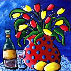 Tulips Red Polka Dots Wine Whimsical Still Life Folk Art Giclee Print Acrylic Painting Canvas, Canvas Art, Arte Country, Arte Popular, Whimsical Art, Oeuvre D'art, Pottery Art, Fine Art Paper, Bunt