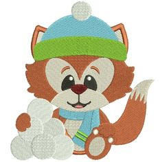 Christmas Fox With Snowballs Filled Machine Embroidery Digitized Design Pattern #christmas #embroidery #applique #snowballs