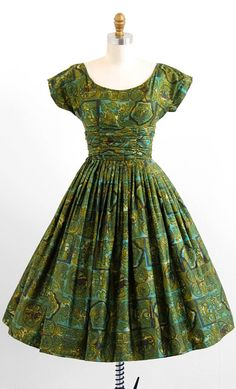 vintage 1950s green brushed cotton Greco-Roman novelty print party dress | 1950s rockabilly dresses | www.rococovintage.com