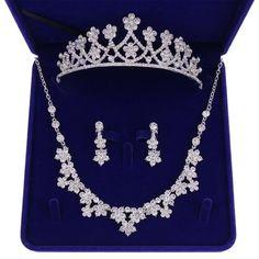 Rhinestone Wedding, Rhinestone Necklace, Crystal Necklace, Crystal Rhinestone, Pink Gift Box, Pink Gifts, Bridal Jewelry Sets, Wedding Jewelry, Crown Earrings