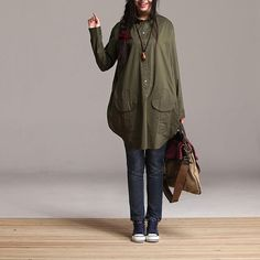2colors Army Green cotton blouse loose blouse shirt - long sleeve loose large size dress capri skirt -Irregular batwing coat autumn AOLO-377