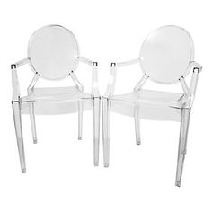 Baxton Studios 2-Piece Dymas Modern Armed Ghost Chair Set