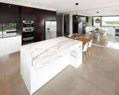 Modern Kitchen Design Ideas, Pictures, Remodel and Decor Handleless Kitchen, Kitchen Benchtops, Quartz Kitchen Countertops, Granite Kitchen, Stone Kitchen, Kitchen Art, New Kitchen, Kitchen Dining, Kitchen Showroom