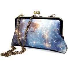 SALE NOW 55.00 / Clutch Purse - Universe/ Cotton silk galaxy print/... ($55) ❤ liked on Polyvore featuring bags, handbags, clutches, purses, chain purse, blue handbags, handbags purses, blue purse and blue clutches