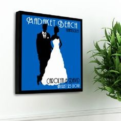 Personalized Couples Silhouette Studio Canvas Wall Art Print is a unique gift for the newly-married couple or the couple married for 50 years, this Personalized Couples Studio Canvas print is a vintage poster inspired print a great addition to any wall.  The classic background color choices are the perfect backdrop for the bride and groom silhouette figures that are the centerpiece of this print. Generously sized, display the print at your wedding reception and then hang it above the…