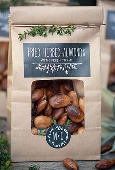 Brides.com: . How delicious do these fried almonds with thyme sound? It's an unexpected favor idea that will satisfy even your most critical foodie guest.