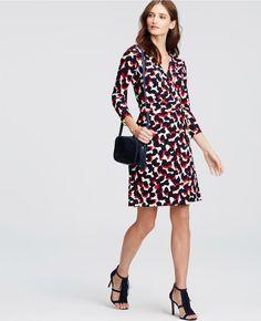 Abstract Wrap Dress   Ann Taylor