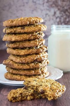 Flourless Oatmeal Cookies With Chocolate Chips • Dishing Delish Oatmeal Cookies No Flour, Flourless Oatmeal Cookies, Flourless Desserts, Oatmeal Cookie Recipes, Oatmeal Chocolate Chip Cookies, Chocolate Chips, Raisin Cookies, Paleo Dessert, Dessert Recipes