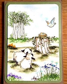 Little Lambs U get photo #2  Sells for 8.99 Retired. I have the other items in the examples in my shop you can purchase these from my store Pat's Rubber Stamps & Scrapbook supplies. ART IMPRESSIONS RUBBER STAMPS Sold separately are items used in this project We take PayPal. FREE SHIPPING only by: PHONE or email orders:423-357-4334 patbubstilwell@gmail.com on ORDERS of $30.00 or more. I have a large selection of retired stamps