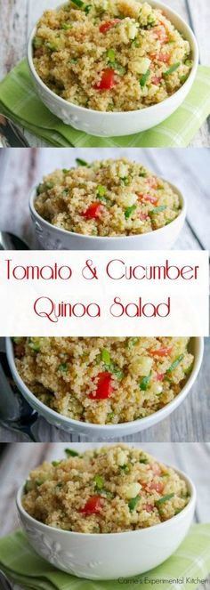 Tomato & Cucumber Quinoa Salad | Carrie's Experimental Kitchen This quinoa salad using fresh garden tomatoes and cucumbers in a white balsamic vinaigrette is light and refreshing on a hot summer day.