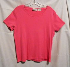 Basic Editions Hot Pink Top 100% Cotton Career Short Sl Size M Cotton #BasicEditions #KnitTop #Career