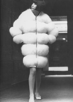 http://UpCycle.Club Model wearing a fur coat by Pierre Cardin, 1966 #bella @upcycleclub