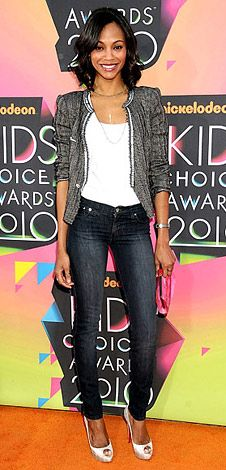 zoey saldana @ kid's choice awards. casual chic look - get the look at affordable prices at www.jewelryfanatic.kitsylane.com