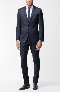 19ac9605 Hugo Boss Virgin Wool Dress Pants, Slim Fit | Gibson Cyl - Dark Grey 28R