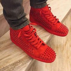 2018 Fashion Top Quality Black/Black/Blue Rivets Studded Casual Shoes Lace Up Lace Up Sapatos Mujer Plus Size 46 Men Shoes High Top Sneakers, Blue Sneakers, Shoes Sneakers, Red Shoes, Men's Shoes, Casual Shoes, Men Casual, Spike Shoes, Red Louboutin