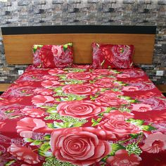 Floral Design Bedding with pillow cases Red by NeedleEyesBoutique