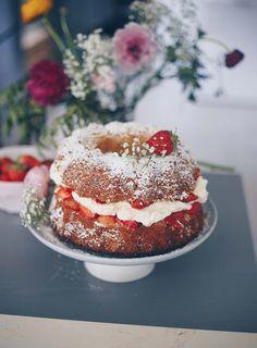 Sommerliche Rezeptidee für die Erdbeersaison: Erdbeer-Kokos-Gugelhupf backen - saftiger Kokos-Rührteig mit einer lockeren Frischkäsecreme mit weißer Schokolade und Erdbeeren #erdbeeren #erdbeerzeit #erdbeerrezepte #backideen Yummy Recipes, Summer Cakes, Cupcakes, No Bake Cake, Fresh Fruit, Panna Cotta, Muffins, Cheesecake, Sweets