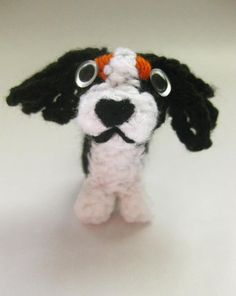 Cavalier King Charles Spaniel Beeble. Crochet micro dog with beads for eyes 7cm