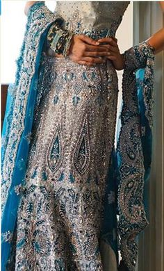 Turquoise indian bridal wear