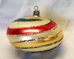 Vintage Colorful Mercury Glass Spinning Top Shaped Christmas Ornament #Unbranded