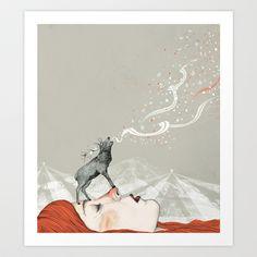 Deer Lady! Art Print by Sandra Dieckmann - $18.00