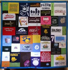 Young Life T-shirt Quilt, Mosaic Style, with Embroidery.