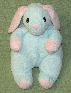 "Ty Pluffies BUNNY Rattle Pastel BLUE PINK Terry Cloth Stuffed Lovey 12"" 1999 Toy #Ty"
