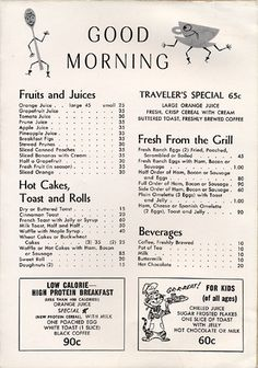 Vintage Menu Collection